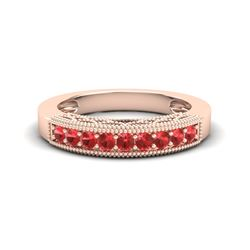 0.50 CTW Red Sapphire Band Love Me Art Deco Ring 10K Rose Gold - REF-17N6Y - 20812