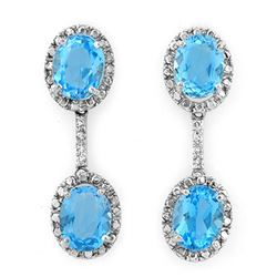 10.10 CTW Blue Topaz & Diamond Earrings 10K White Gold - REF-35N3Y - 10154