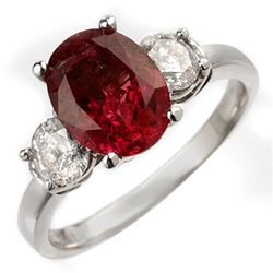 3.25 CTW Rubellite & Diamond Ring 18K White Gold - REF-105A5X - 10008