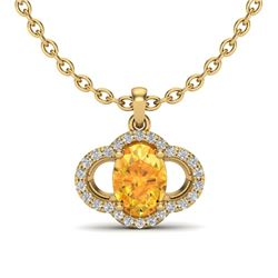 1.75 CTW Citrine & Micro Pave VS/SI Diamond Necklace 10K Yellow Gold - REF-29Y5K - 20629