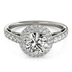 1.65 CTW Certified VS/SI Diamond Solitaire Halo Ring 18K White Gold - REF-411K8W - 26497