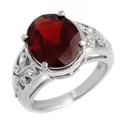 6.15 CTW Garnet & Diamond Ring 10K White Gold - REF-40F2N - 11010