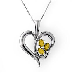 0.87 CTW Citrine & Diamond Pendant 10K White Gold - REF-19Y3K - 12768