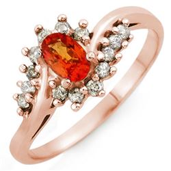 0.55 CTW Orange Sapphire & Diamond Ring 18K Rose Gold - REF-38X5T - 10101