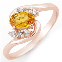 0.70 CTW Yellow Sapphire & Diamond Ring 14K Rose Gold - REF-24Y8K - 10420