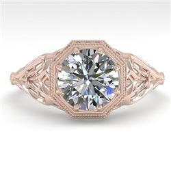 1.50 CTW VS/SI Diamond Solitaire Engagement Ring 18K Rose Gold - REF-547H6A - 36047