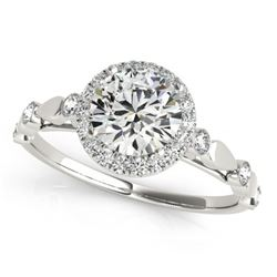 0.75 CTW Certified VS/SI Diamond Solitaire Halo Ring 18K White Gold - REF-121F3N - 26407