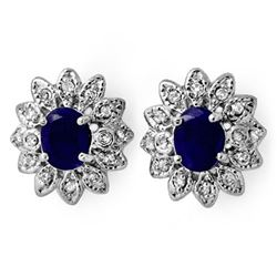 3.0 CTW Blue Sapphire & Diamond Earrings 14K White Gold - REF-82A8X - 13854