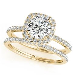 1.70 CTW Certified VS/SI Diamond 2Pc Wedding Set Solitaire Halo 14K Yellow Gold - REF-488K2W - 30665