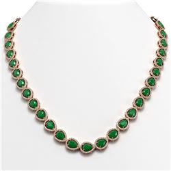 45.93 CTW Emerald & Diamond Halo Necklace 10K Rose Gold - REF-674X2T - 41043