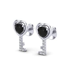 0.80 CTW Black VS/SI Diamond Micro Key To The Heart Earrings 14K White Gold - REF-32W5F - 22669