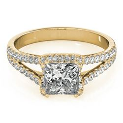 2.05 CTW Certified VS/SI Princess Diamond Solitaire Halo Ring 18K Yellow Gold - REF-661F4N - 27110