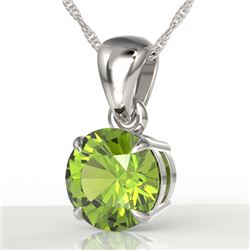 2 CTW Peridot Designer Inspired Solitaire Necklace 18K White Gold - REF-27K8W - 22033