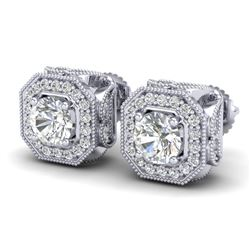 2.75 CTW VS/SI Diamond Solitaire Art Deco Stud Earrings 18K White Gold - REF-472X8T - 37322