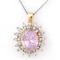 8.68 CTW Kunzite & Diamond Necklace 14K Yellow Gold - REF-138F8N - 10344
