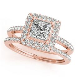 1.21 CTW Certified VS/SI Princess Diamond 2Pc Set Solitaire Halo 14K Rose Gold - REF-227M3H - 31353