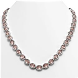 45.98 CTW Morganite & Diamond Halo Necklace 10K White Gold - REF-850X9T - 40565