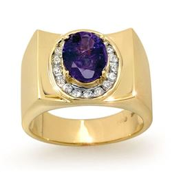 2.83 CTW Tanzanite & Diamond Men's Ring 10K Yellow Gold - REF-83N8Y - 13486