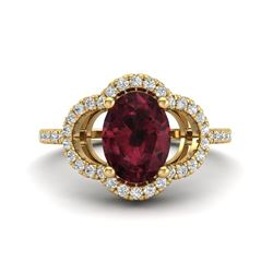 2 CTW Garnet & Micro Pave VS/SI Diamond Ring 10K Yellow Gold - REF-33F3N - 20985