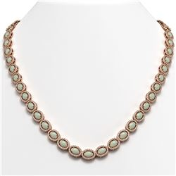 21.21 CTW Opal & Diamond Halo Necklace 10K Rose Gold - REF-555T3M - 40416