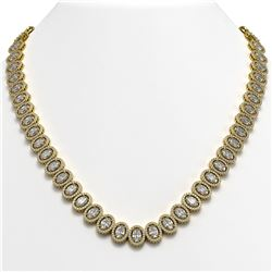42.56 CTW Oval Diamond Designer Necklace 18K Yellow Gold - REF-7835Y8K - 42814