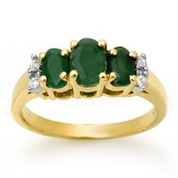 1.08 CTW Emerald & Diamond Ring 14K Yellow Gold - REF-29M3H - 13662