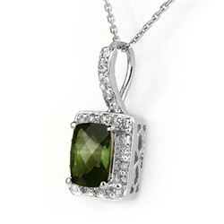 2.25 CTW Green Tourmaline & Diamond Necklace 14K White Gold - REF-50W5F - 10188