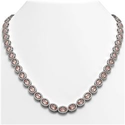 31.96 CTW Morganite & Diamond Halo Necklace 10K White Gold - REF-604X2T - 40412