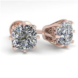 1.0 CTW VS/SI Cushion Cut Diamond Stud Solitaire Earrings 18K Rose Gold - REF-178Y2K - 35675