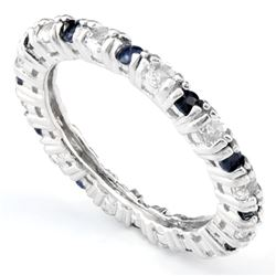 ***** FEATURE ITEM **** RING - 1/2CTW GENUINE MIDNIGHT BLUE SAPPHIRE(11PC) & 4/5 CTW WHITE TOPAZ(11P
