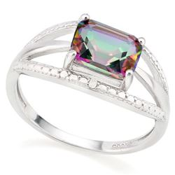 *RING - 1 1/3 CARAT MYSTIC GEMSTONE & GENUINE DIAMONDS IN 925 STERLING SILVER OPEN DESIGNED SETTING