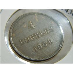 COIN - 4 DOUBLE GUERNESEY - 1864