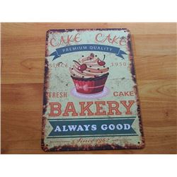 VINTAGE DESIGNED METAL SIGN - CAKE CAKE BAKERY