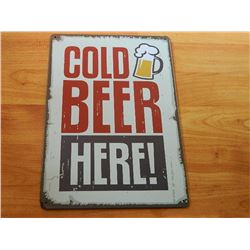 VINTAGE DESIGNED METAL SIGN - COLD BEER HERE