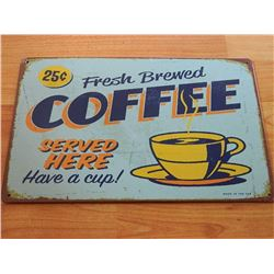 VINTAGE DESIGNED METAL SIGN - FRESH COFFEE - LIGHT BLUE