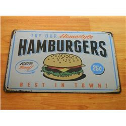 VINTAGE DESIGNED METAL SIGN - HAMBURGERS