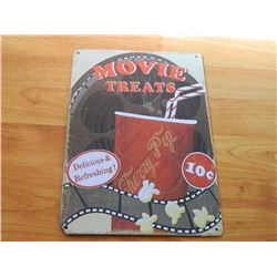 VINTAGE DESIGNED METAL SIGN - MOVIE TREATS 10cents