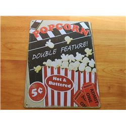 VINTAGE DESIGNED METAL SIGN - POPCORN 10cents