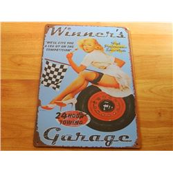VINTAGE DESIGNED METAL SIGN - WINNER'S GARAGE