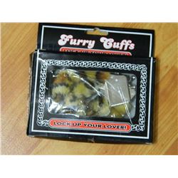NEW FURRY HANDCUFFS - WITH QUICK RELEASE SAFETY - LEOPARD