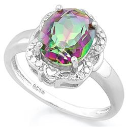 *RING - 2 3/5 CARAT MYSTIC GEMSTONE & GENUINE DIAMONDS IN 925 STERLING SILVER HEART ACCENTED SETTING