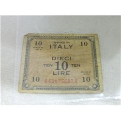 PAPER NOTE - ISSUED IN ITALY - 10 LIRE - 1943