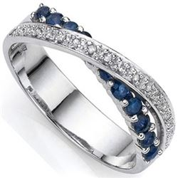 **** FEATURE ITEM ****  RING - 8 2/5 CTW GENUINE SAPPHIRE (11PC) & DIAMONDS IN 925 STERLING SILVER C