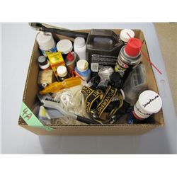 box of miscellaneous gun lubricants etc.