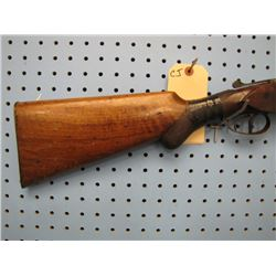CJ... Belgium double barrel shotgun 12 gauge Stock Broken has sight soldered on