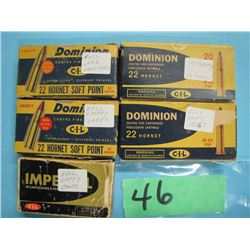 lot of five collector boxes 22 Hornet some reloads and brass