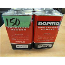 NO SHIPPING lot of six cans full and partful magnum rifle powder