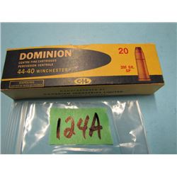 Dominion collector box with 20 rounds 44 - 40 ammunition
