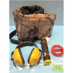 lot with soft side gun case, hearing protector, fishing hooks Etc