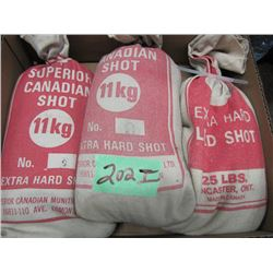 lot of three-part bags of lead shot